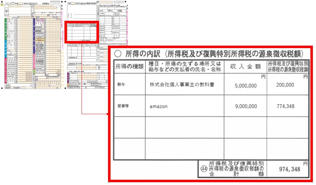 確定申告書の源泉徴収額の記載箇所①