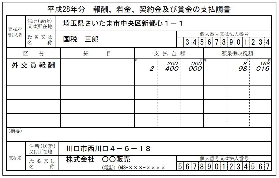支払調書の書き方の例