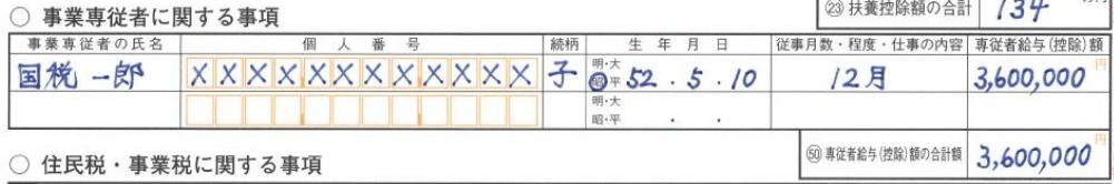 確定申告書Bの書き方第二表(事業専従者の詳細)