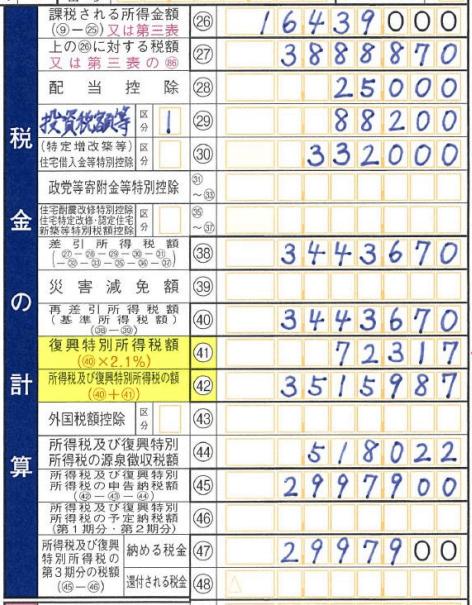 確定申告書Bの書き方第一表(税金の計算)