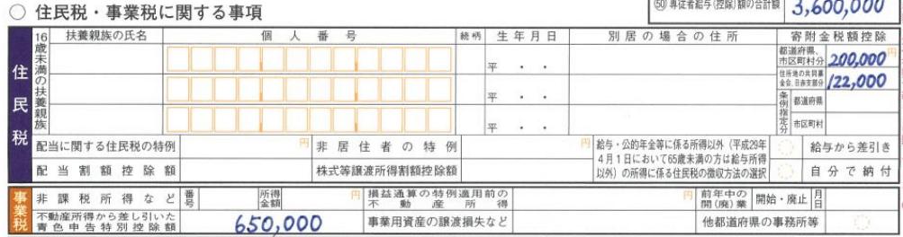 確定申告書Bの書き方第二表(住民税・事業税の補足)