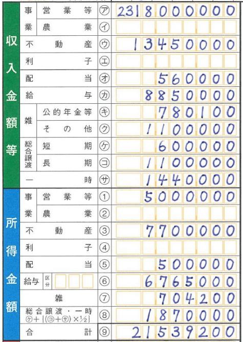確定申告書Bの書き方第一表(収入と所得)