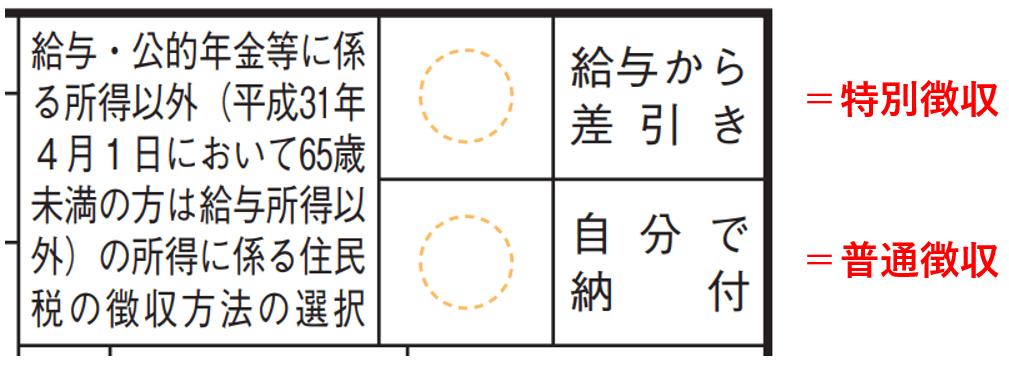 普通徴収と特別徴収の記入箇所